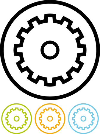 Gear wheel - Vector icon isolated on white Illustration