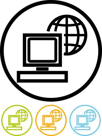 글로벌 컴퓨터 네트워크 - 벡터 아이콘을 화이트 절연