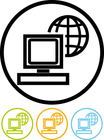 Global computer network - Vector icon isolated on white Illustration