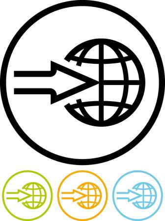 전세계 배송 배달 - 벡터 아이콘을 흰색으로 격리 스톡 콘텐츠 - 53059036