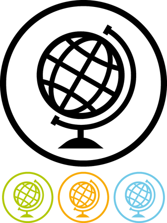 Earth globe geography travel symbol. Around the world