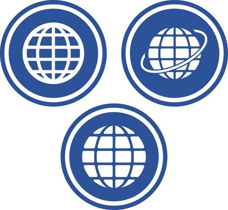 Globos de la tierra viajan por el mundo - iconos del vector Foto de archivo - 53059041