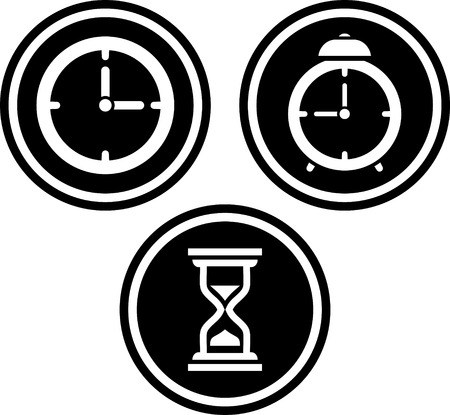 Time alarm clock hourglass - Vector icons