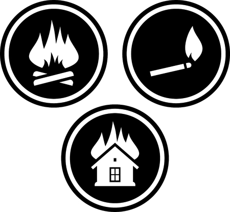 Campfire House on fire icon. Illustration