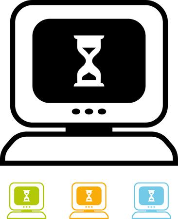 Desktop computer gehangen vector icon. Trage pc-scherm