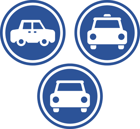 Taxi Cars vector signs