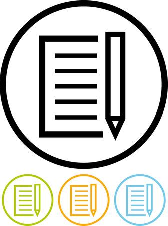 종이 문서 문서 및 펜 - 벡터 아이콘