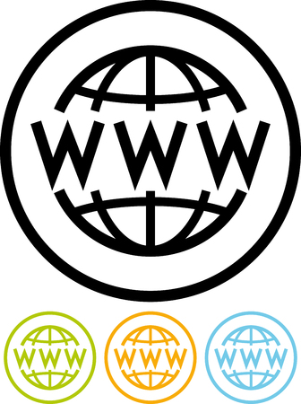 World Wide Web global WWW - Vector icon isolated on white