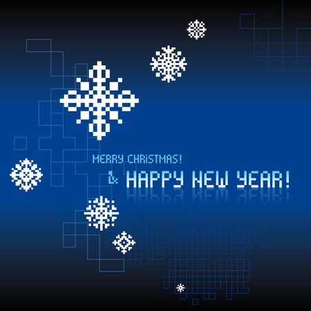 Original Christmas and New Year vector pixel digital tech background
