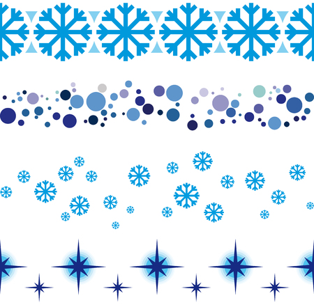 Christmas and New Year seamless ribbon decorations for shop windows etc. Seamless frame rule lines.  イラスト・ベクター素材