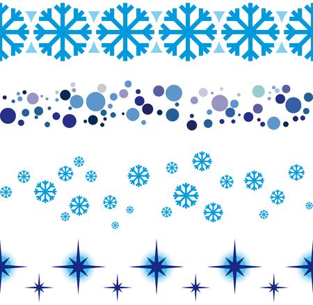decoraciones cinta transparente de Navidad y Año Nuevo para los escaparates, etc. Líneas inconsútiles regla marco. Ilustración de vector