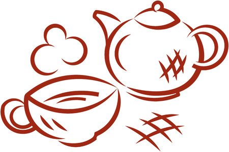 Tea party. Teapot and cup of hot tea. Vector illustration