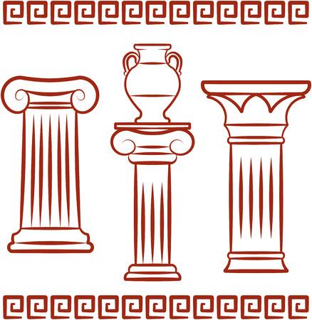 Antique Greek art - Pillars and ceramics