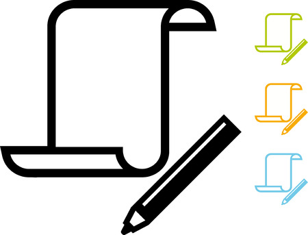Paper scroll document pen vector icon Stock Illustratie