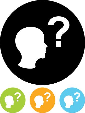 Man posant des questions - vecteur icône isolé Vecteurs