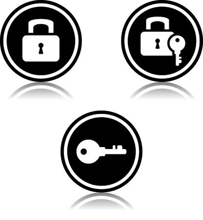 Hangsloten en sleutels - Vector iconen Stock Illustratie