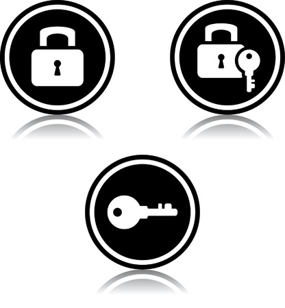 Padlocks and keys - Vector icons