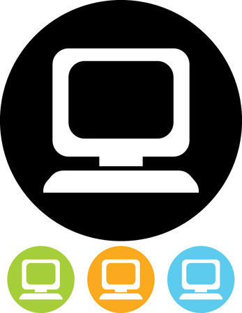 Desktop computer screen pc vector icon isolated