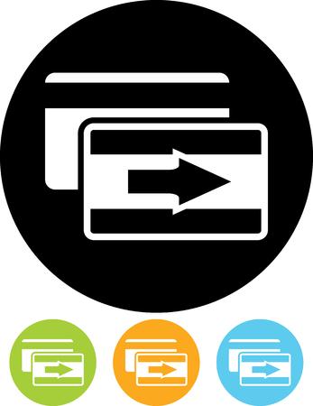 Bank plastic credit debit card money transfer transaction vector icon Иллюстрация