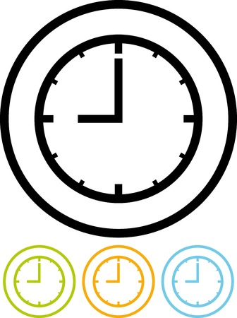 icono del vector aislado en blanco - Dial Reloj Ilustración de vector