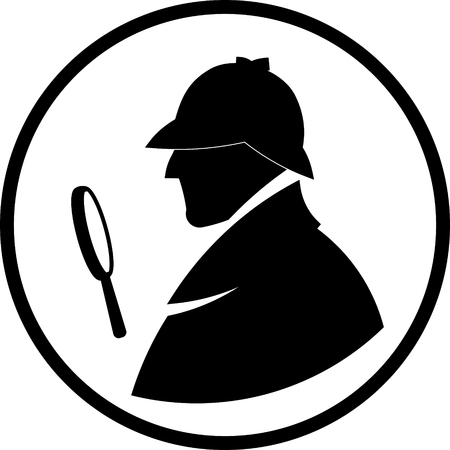 Detective Sherlock Holmes vector profile icon Çizim