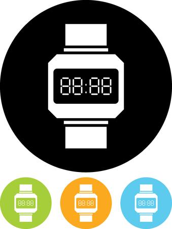 reloj digital del icono de vector de la cara aislada