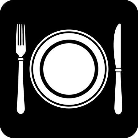 Dish, fork and knife - Vector icon isolated