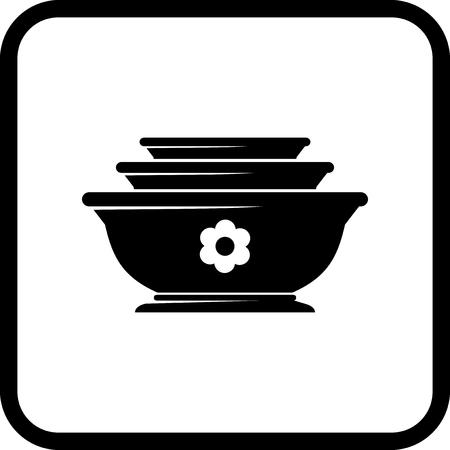Schalen en borden. China - Vector pictogram op wit wordt geïsoleerd Stock Illustratie