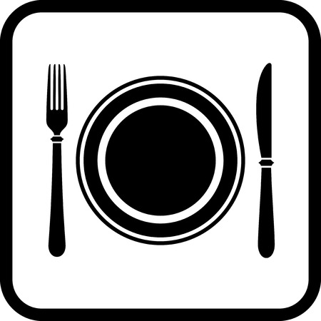 Dish, fork and knife - Vector icon isolated on white