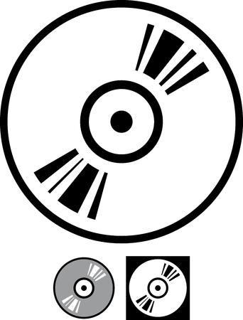 Vector vinyl disk or cd record illustration isolated Ilustração