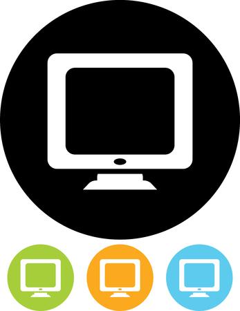 Desktop monitor pc computer screen vector icon Illustration