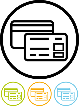 Bank plastic credit debit cards - Vector icon isolated on white Иллюстрация
