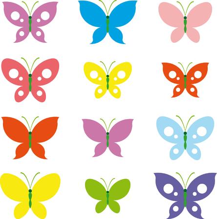 Vlinders - vectorillustratie Stock Illustratie