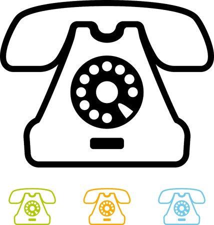 Landline phone retro vector isolated