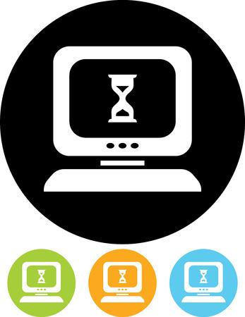 Computer hing. Desktop computer error vector icon