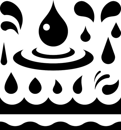 Water or oil liquid drops and wave patterns  Vector Çizim