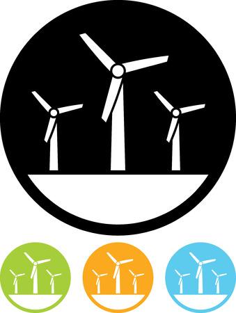 Eco moulins à vent de l'énergie verte - vecteur icône isolé