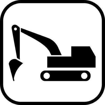 Excavator digger vector icon