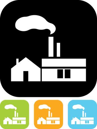 Fábrica. edificio industrial - icono del vector aislado Foto de archivo - 52951082