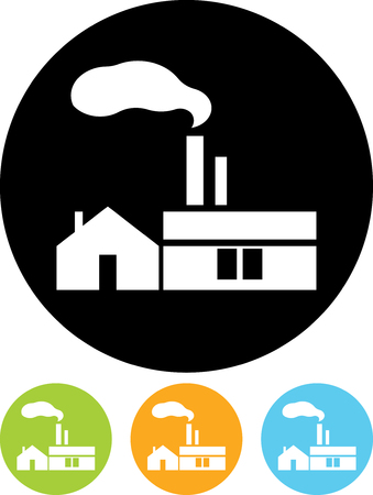 Factory. Industrial building - Vector icon isolated