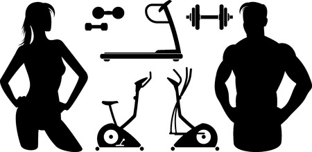 Fitness and Gym equipment Vector Man and woman Ilustrace