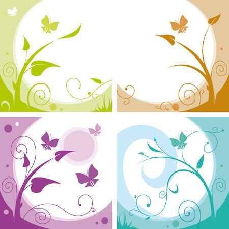 Set floral vector achtergronden met vlinders