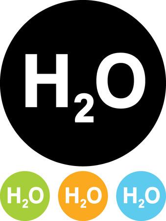 水の化学式 - 分離ベクトル アイコン  イラスト・ベクター素材