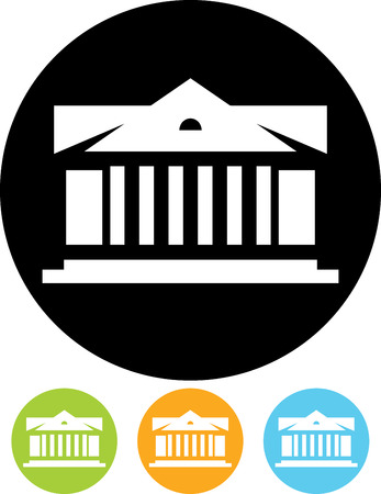 Museum or bank. Historical antique building - Vector icon isolated