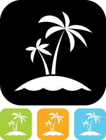 Tropical sea small island - Vector icon isolated Illusztráció