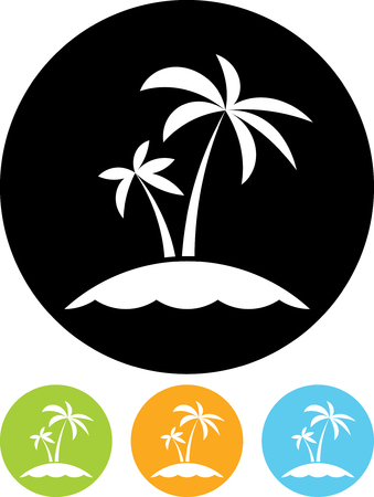 Tropical sea small island - Vector icon isolated Illustration