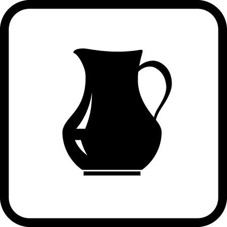 Ceramic jug icon isolated on white Çizim
