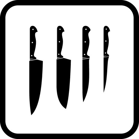 Kitchen knives - Vector icon isolated on white