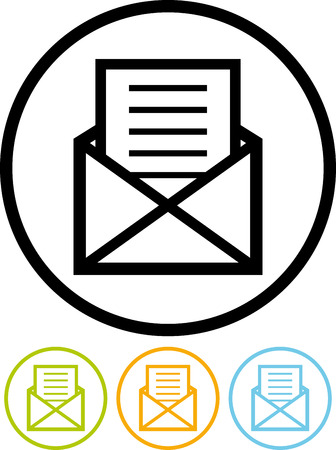 Open envelope with letter vector icon