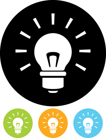 Shining lightbulb - Vector icon 일러스트